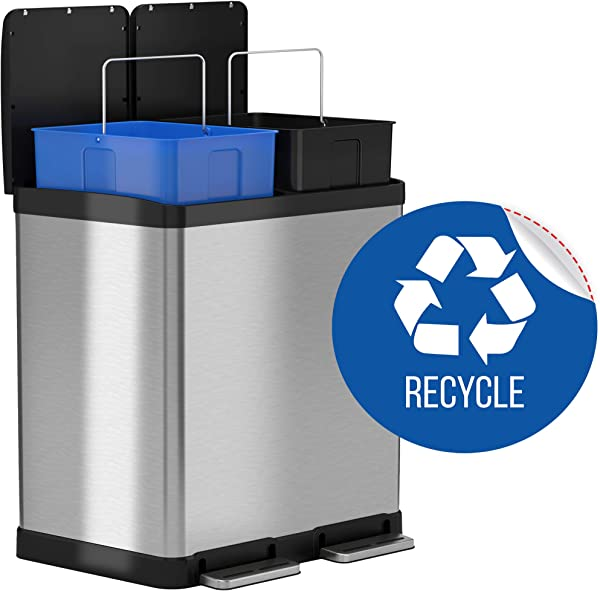 ITouchless 16 Gallon Dual Step Trash Can Recycle Bin Stainless Steel Includes 2 X 8 Gallon 30L Removable Buckets With Handles Soft Close And Airtight Recycle Decal Included