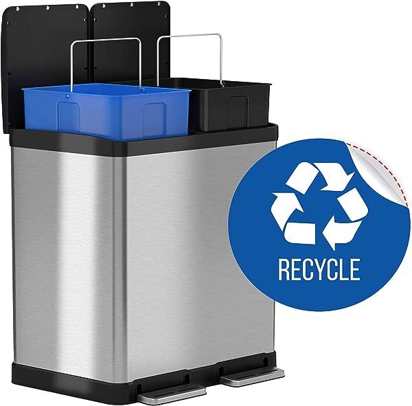 ITouchless 16 加仑双步骤垃圾桶回收站不锈钢包括 2X8 加仑 30L 可拆卸桶手柄软关闭和密封回收贴花包括