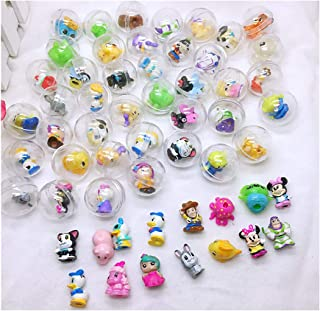 BaByPinkyS 50Pcs/lot Diameter Transparent Plastic Ball Capsule Toys with Inside Rubber or Plastic Figure Dolls - for Vending Machine - for Children Boys and Girls