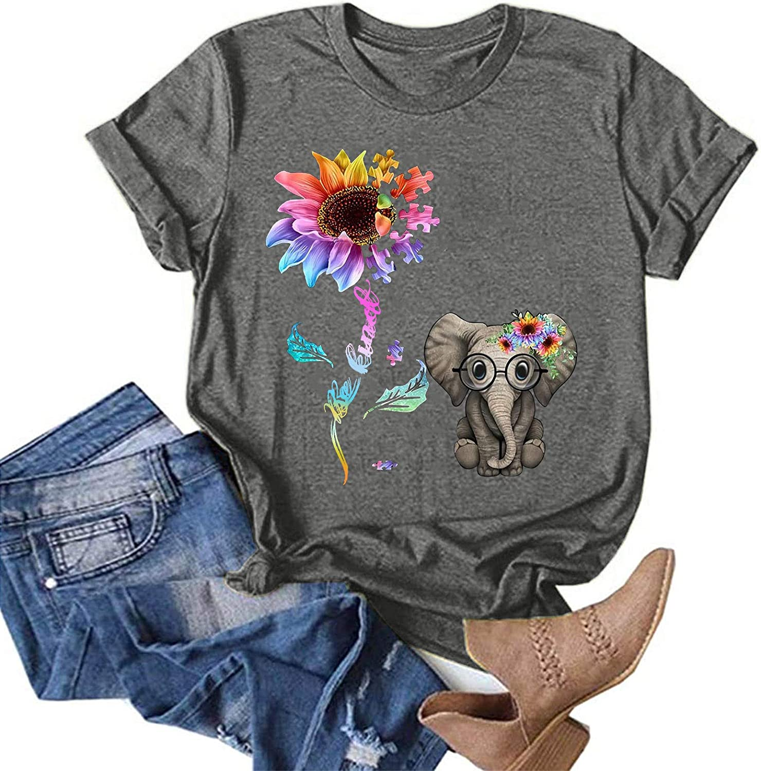 Fankle Summer Vintage Tops for Women, Casual Short Sleeve Loose Fit Sunflower Graphic Tees Vintage Shirts Blouses
