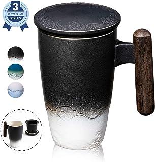 SULIVES Taza de Te Porcelana Mug Infusión con Filtro y Tapa Mango de madera 400ml (negro)