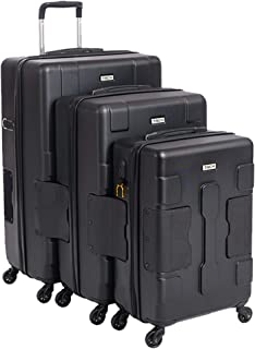 TACH TUFF 3-Piece Hardcase Connectable Luggage & Carryon Travel Bag Set   Rolling Suitcase with Patented Built-In Connecting System   Easily Link & Carry 9 Bags At Once   TSA-Approved Lock (black)