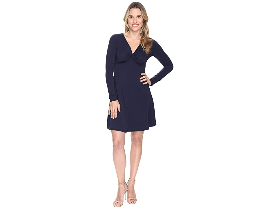 Mod-o-doc Cotton Modal Spandex Jersey Twist Front Empire Seamed Dress (True Navy) Women