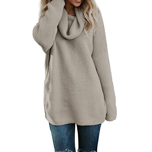 95a739bd05 Pxmoda Women s Casual Long Sleeve Turtleneck Knit Sweater Chunky Oversized  Pullover Jumper