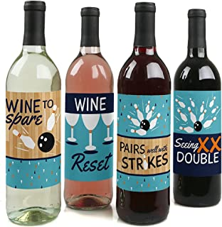 Big Dot of Happiness Strike Up the Fun - Bowling Decorations for Women and Men - Bowling Ball Party Wine Bottle Label Stickers - Set of 4