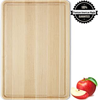 Maple Cutting Board Wood Large 17x11x1 Reversible with Juice Groove, Thick Butcher Block Chopping Board Carving Cheese Charcuterie Serving Handmade by AtoHom