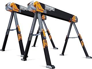 ToughBuilt - Folding Sawhorse - Sturdy, Durable, Lightweight, Heavy-Duty, 100% High Grade Steel - Adjustable up to 4x4 Siz...