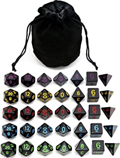5 Sets New Black Polyhedral Dice with Satin-Lined Velvet Bag for Dungeons and Dragons DND RPG MTG D20 D12 D10 D8 D6 D4