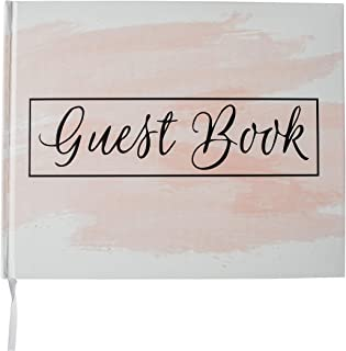 """Wedding Guest Book Hardcover Polaroid Album Photo Guestbook Bridal Shower, Baby Shower, Airbnb Registry Sign in Pink Blush & White Modern Beautiful Hardbound Book 10"""" x 8"""" (100 unlined blank pages)"""