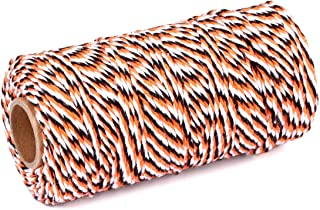 2 Roll Cotton String Rope 656 Feet Yzsfirm Orange Black and White 2mm Thick Bakers Twine for Crafts Bundling