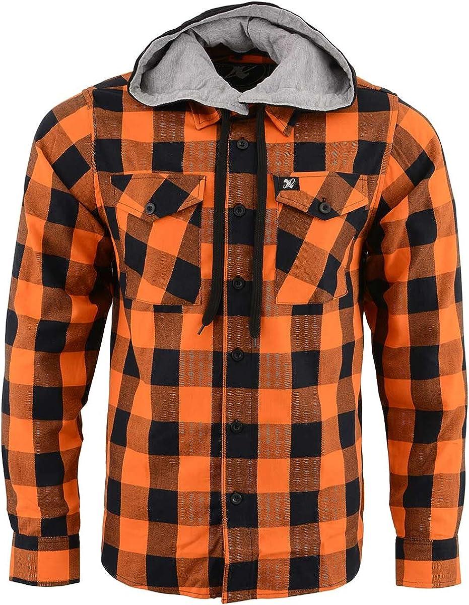 NexGen MNG11642 Men's Orange and Black Long Sleeve Cotton Flannel Shirt with Hoodie