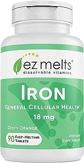 EZ Melts Iron as Elemental Iron, 18 mg, Sublingual Vitamins, Vegan, Zero Sugar, Natural Orange Flavor, 90 Fast Dissolve Tablets