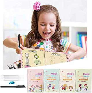 4 Pcs Reusable Practice Copybook for Kids,English Calligraphy Tracing Book Set for Handwriting Letter Writing Book for Kin...