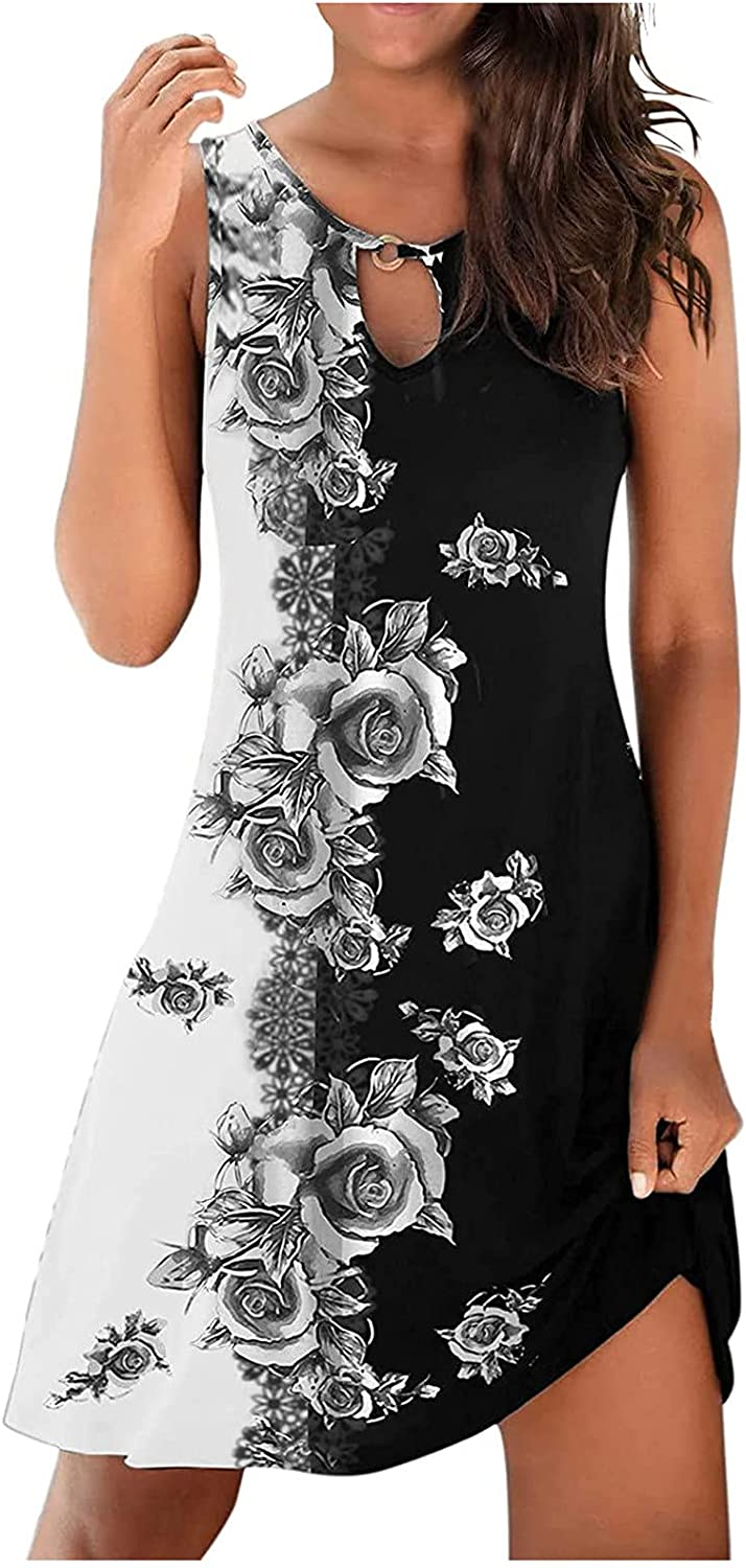 CofeeMO Women's Casual Loose V-Neck Summer Dress Short Floral Printed Sleeveless335