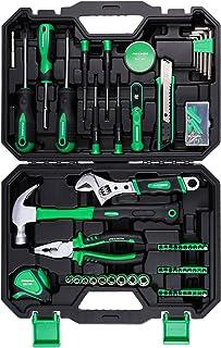 METAKOO 100-Piece Tool Kit For Home, Home Repair Tool Set with Plastic Toolbox Storage..