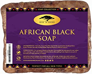 Raw African Black Soap Bar with Coconut Oil and Shea Butter - Body Wash, Shampoo and Face Wash - Helps Clear Dry Skin, Acne, Eczema, Psoriasis - Authentic Organic Homemade Soap Bar from Ghana (16 oz)