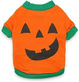 DroolingDog Pet Clothes Dog Halloween Pumpkin Head T-shirt for Small Dogs