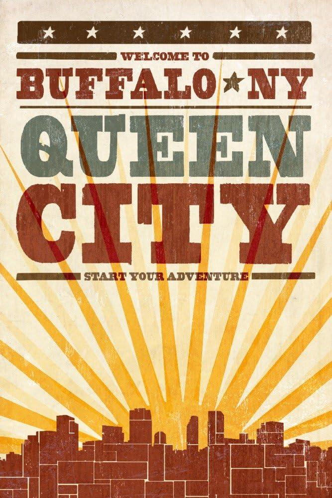Buffalo New York Skyline and 16x24 Sunburst Max 70% OFF Screenprint Ranking TOP16 Style