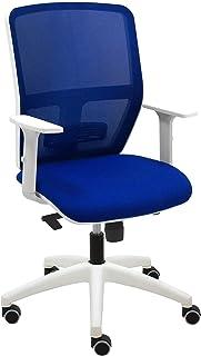 Silla ergonómica Blanca de Oficina Keempat Respaldo Transpirable en Malla Azul - con Brazos Regulables en Altura, regulador Lumbar y Ruedas de Goma válidas para parquet