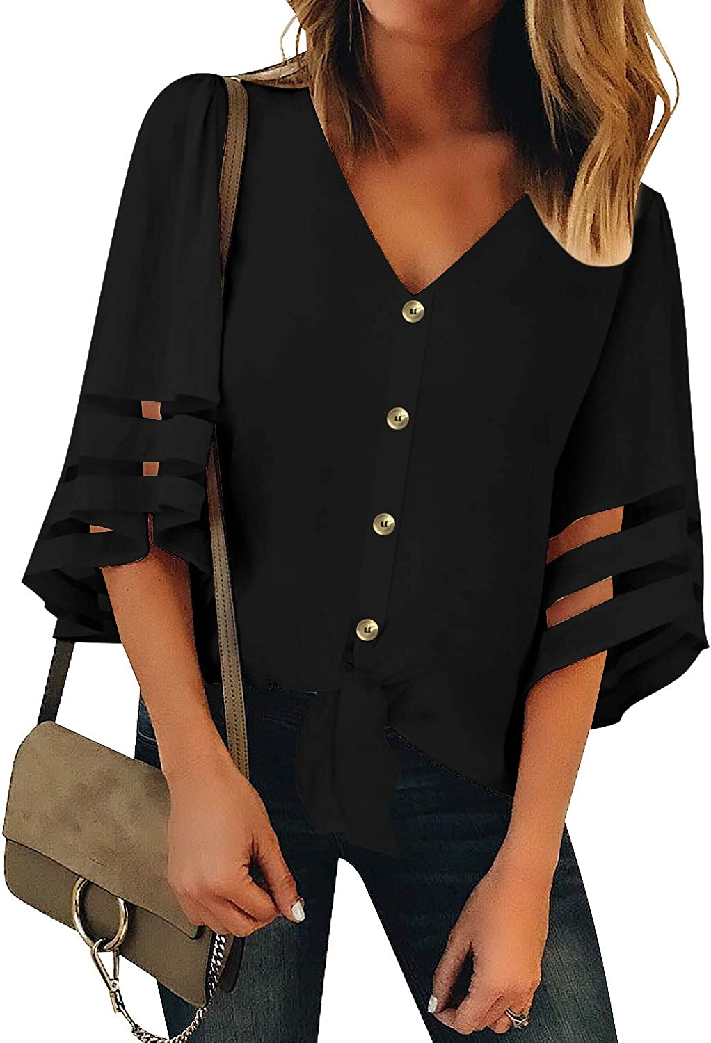 LookbookStore Womens Button Down Tie Knot Mesh Blouse 3/4 Bell Sleeve Loose Tops