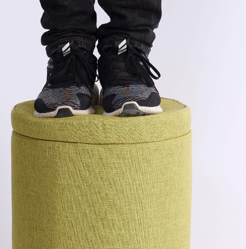 LONGSAND Accent Tabouret Rangement Poufs Amovible et Lavable Chaussures Changement Banc Ronde Pier Ottomans Petit Repose-Pied Siège Enfants Chaise Respirant,Orange Plain