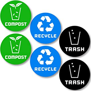 6 Pack (4in x 4in) Recycle Logo and Trash can Sticker to Organize Your Trash - for Trash cans, Garbage containers and Recycle Bins - Premium Vinyl Decal (4in x 4in, Compost 6pk)