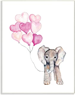 The Stupell Home Décor Collection Baby Elephant with Pink Heart Balloons Wall Plaque Art 10 x 15
