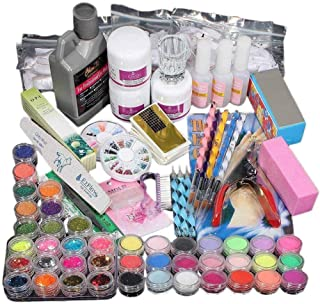 New Acrylic Nail Kit for Beginners with Shinny Glitter and Sequins Glue Polish Professional DIY Nail Nail Art Tools Set Building Kit (42pcs)