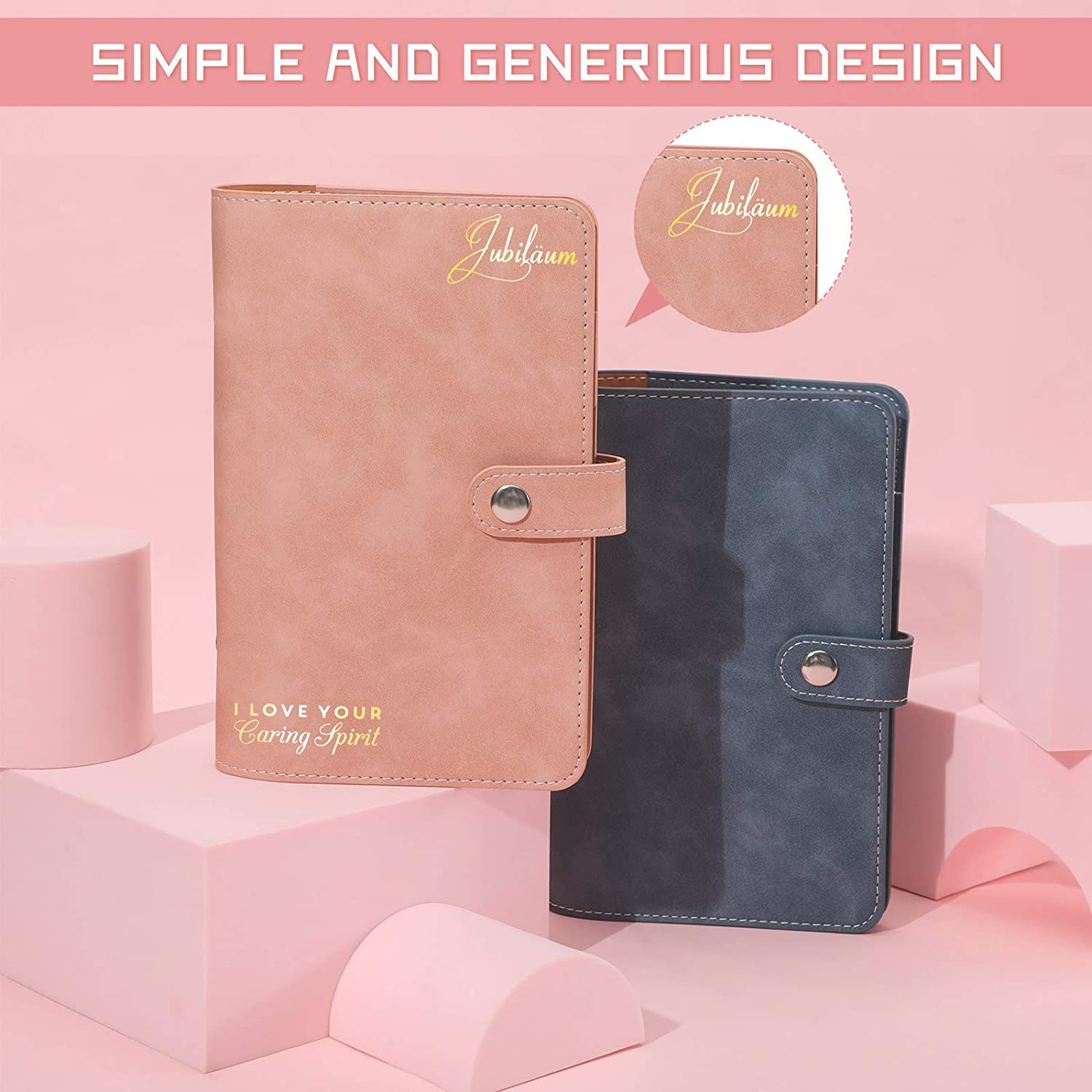Blue, Pink 2 Pieces A6 PU Leather Notebook Binder Refillable 6 Ring Binder Cover for A6 Binder Pockets Filler Paper Personal Organizer Planner Binder with 2 Pieces DIY Gold Glitter Stickers