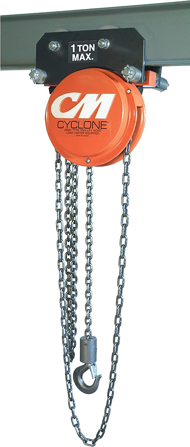 CM Cyclone Hand Chain Hoist on Geared 10 Trolley 20 Ft. Ton Li We Limited Special Price OFFer at cheap prices