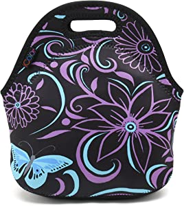 ICOLOR Purple Flower Kids Insulated Lunch Portable Carry Tote Picnic Storage Bag Lunch box Food Bag Gourmet Handbag Cooler warm Pouch Tote bag For School work Office - Purple Butterfly (FLB-020)