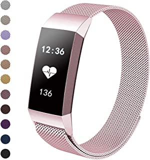 Tanyl Metal Replacement Bands Compatible for Fitbit Charge 3 Bands, Stainless Steel Loop Metal Mesh Bracelet Unique Magnet Lock Wristbands for Women Men Large Small