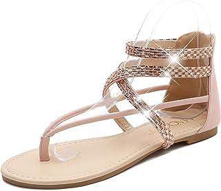 Sponsored Ad - MACKIN J 566-1 Women's Gladiator Sandals Rhinestone Flat Sandals Thong Sandals