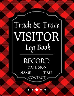 Track & Trace Visitor Log Book Record Date Name Contact Time Sign: Business Health & Safety Compliance | Large Tables