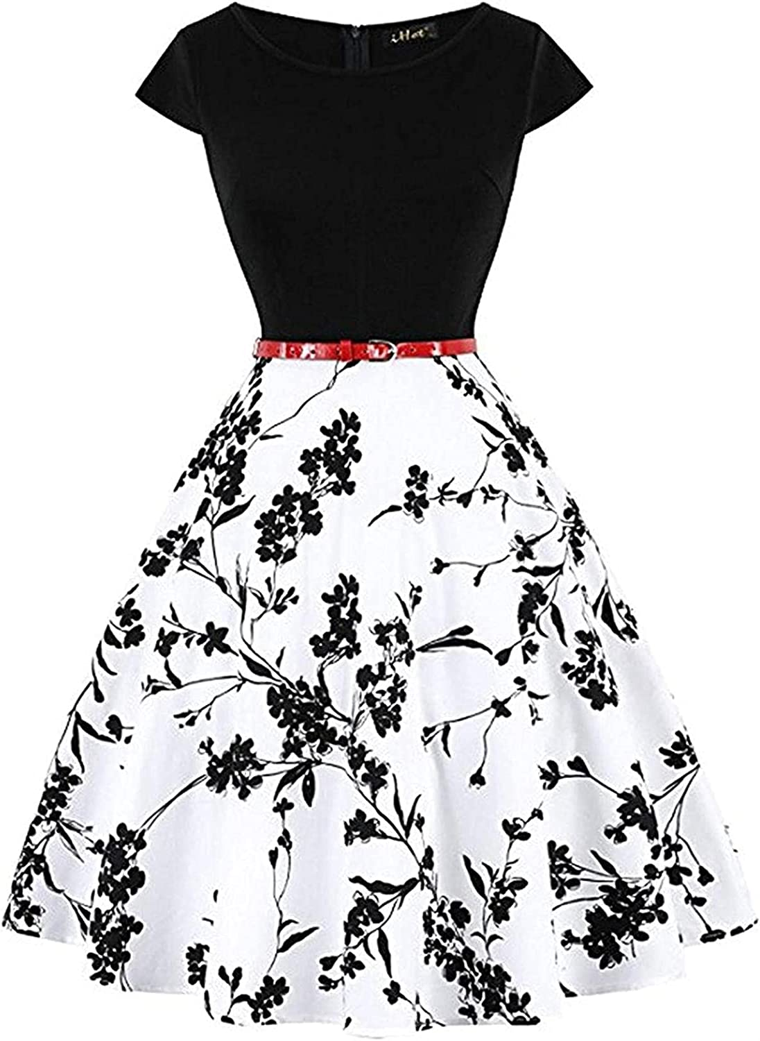 Women's Vintage Patchwork Floral Midi Dress Casual Party Cocktail Swing A Line Dresses with Belt