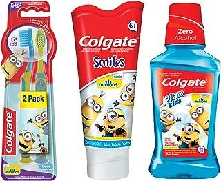 Pack Colgate Smiles Minions Pasta Infantil 75ml + Cepillo Infantil 2 pzas + Enjuague 250 ml