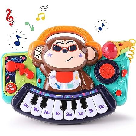WISHTIME Juguete Musical del Bebé Mesa multifunción para niños, con Juegos de Tambor, Teclado de Piano para Descubrir y Tocar con micrófono / Teclado ...