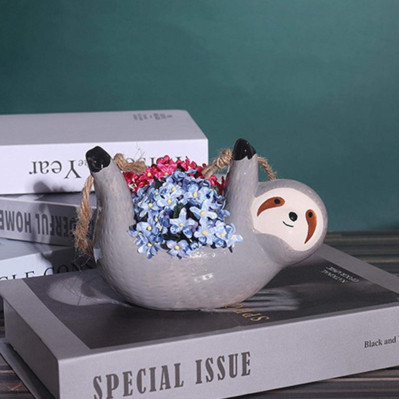shuaiyin Keramik Faultier H/ängen Pflanzer Langlebiger Blumentopf Niedliche Tier H/ängende Dekorative Vase Sukkulente T/öpfe F/ür Zimmerpflanzen