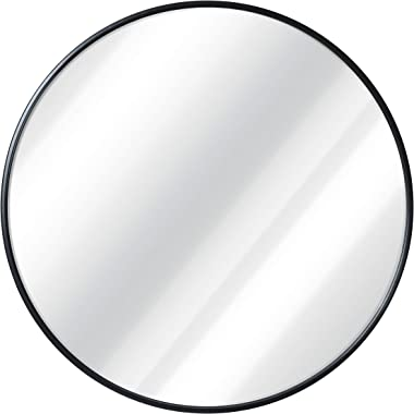 Black Round Wall Mirror - 24 Inch Large Round Mirror, Rustic Accent Mirror For Bathroom, Entry, Dining Room, & Living Roo