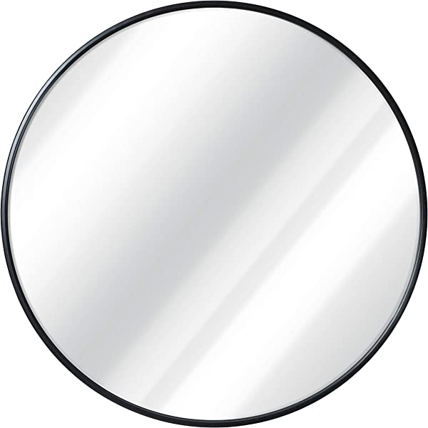 Black Round Wall Mirror 24 Inch Large Round Mirror Rustic Accent Mirror For Bathroom Entry Dining Room Living Room Metal Black Round Mirror For Wall Vanity Mirror Large Circle Wall Mirror