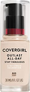 COVERGIRL Outlast All-Day Stay Fabulous 3-in-1 Foundation, 1 Bottle (1 oz), Ivory Tone, Liquid Matte Foundation and SPF 20...