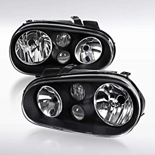 Autozensation For VW Golf GTI MK4 Pair Black Clear Headlights w/Built in Fog Lamps