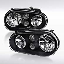 Autozensation For VW Golf GTI MK4 Pair Black Clear Headlights w/Built in Fog Lamps