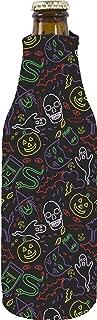 Halloween Neon Pattern Neoprene Zipper Beer Bottle Coolie (1)