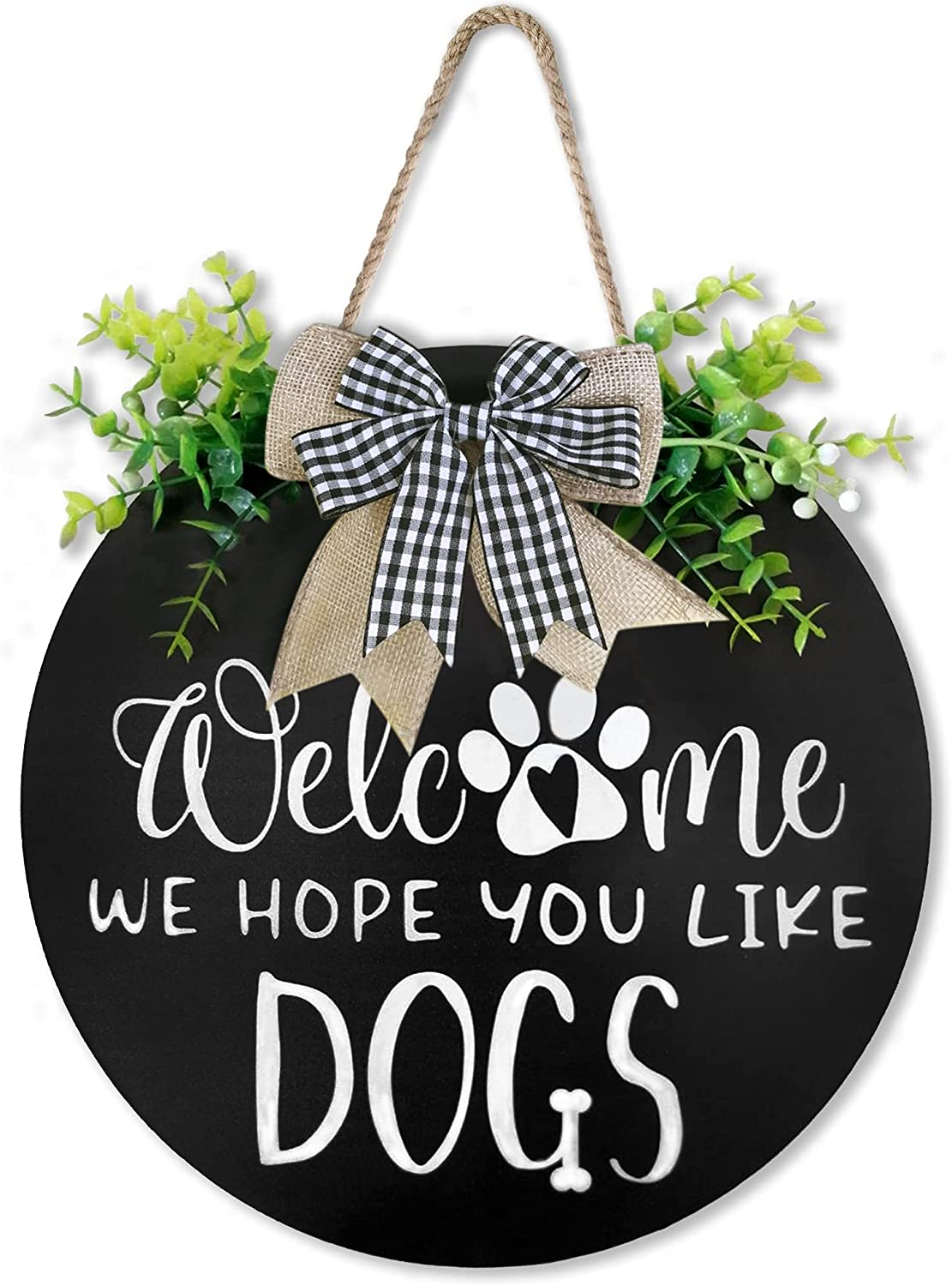 Welcome Wreath Sign for Front Door Decor-We Hope You Like Dogs Farmhouse Door Hanger,Rustic Welcome Sign Front Porch Hanging for Home Decoration,Housewarming Gift for Dog Lovers 12 x 12