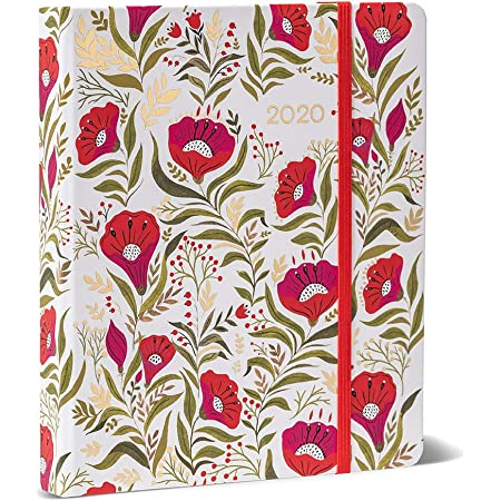 """High Note 2020 Planner - Hardcover Day Planner 18-Month - Daily Weekly Monthly Planner Yearly Agenda Organizer: July 2019 - December 2020 Dinara's Red Floral in Gold 7"""" x 8.5"""""""