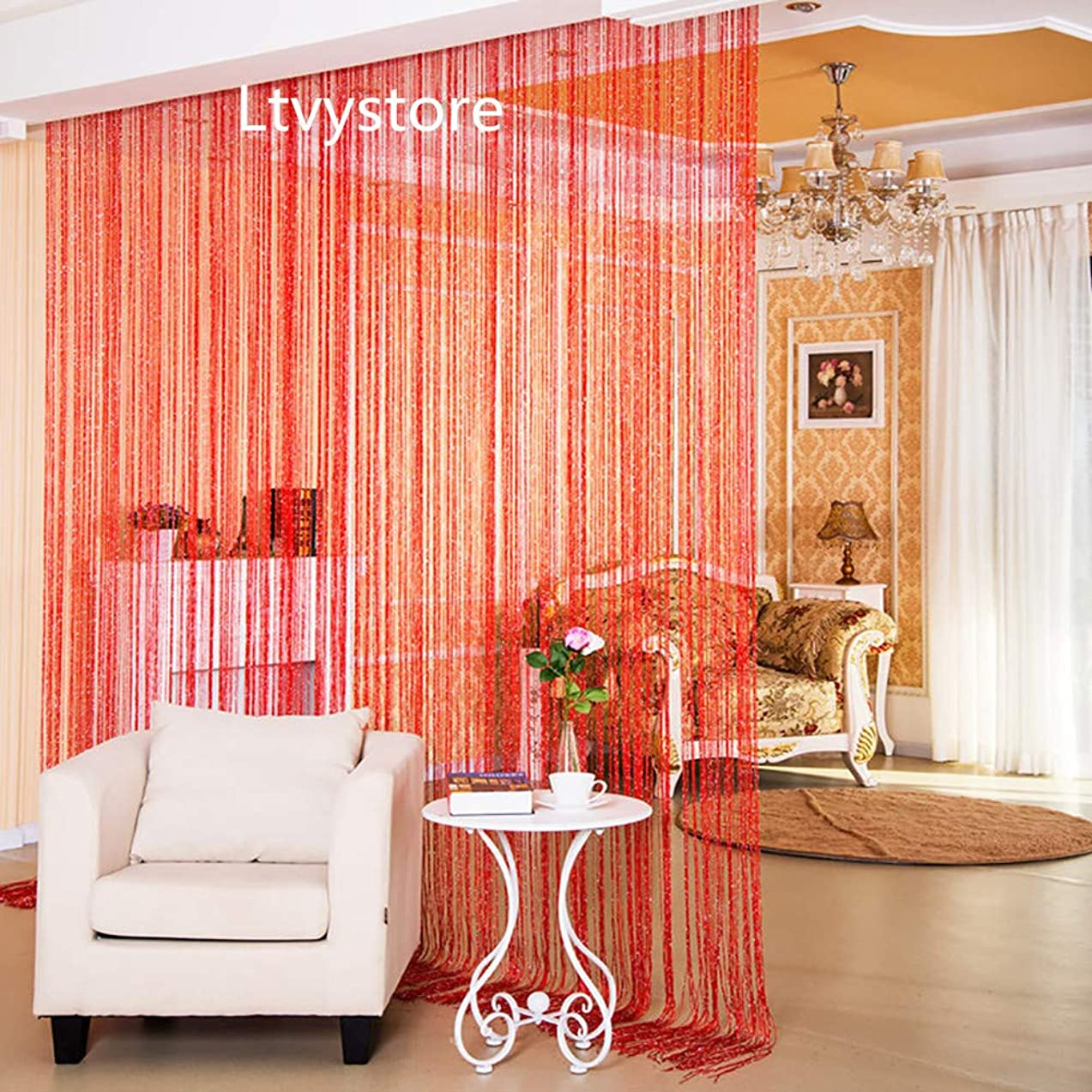 Ltvystore Line Screens Curtain Rare Flat Red Ribbon Door String Curtain Thread Fringe Window Panel Room Divider Strip Tassel 39Inch X 78Inch