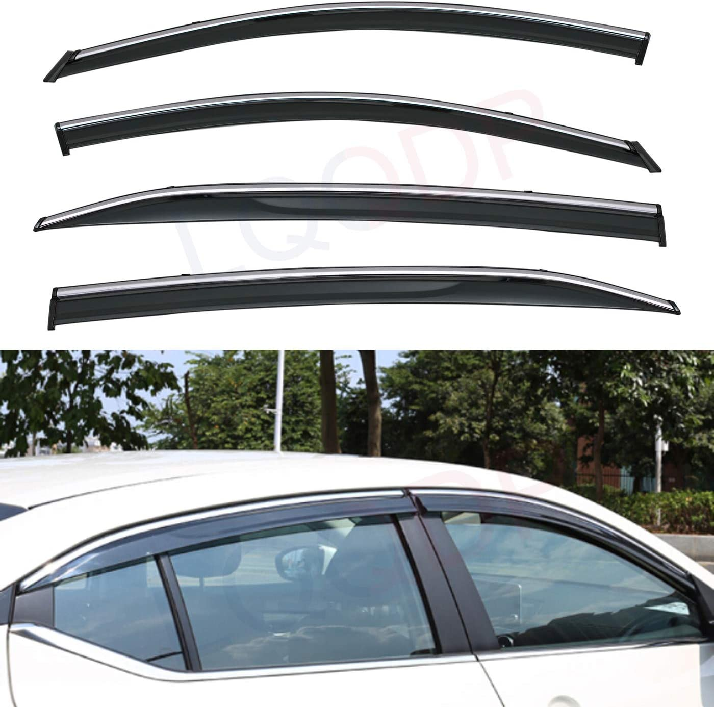 Excellence LQQDP 4pcs Smoke Tint With Chrome On 67% OFF of fixed price Tape Trim Mount Cli Outside