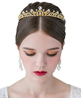 SWEETV Crystal Wedding Tiara for Bride - Princess Tiara Headband Pageant Crown, Bridal Hair Jewelry for Women and Girls, Gold