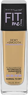 Maybelline New York Fit Me Dewy + Smooth Foundation Makeup, Warm Nude, 1 Fl. Oz (Pack of 1)